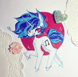 Size: 720x715 | Tagged: safe, artist:dollbunnie, dj pon-3, vinyl scratch, unicorn, bracelet, fanart, instagram, jewelry, marker drawing, red eyes, solo, traditional art