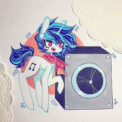 Size: 720x718 | Tagged: safe, artist:dollbunnie, dj pon-3, vinyl scratch, unicorn, bass cannon, clothes, eyebrows, instagram, scarf, solo