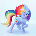 Size: 2955x2955 | Tagged: safe, artist:xbi, rainbow dash, pegasus, pony, blue background, chest fluff, cute, dashabetes, ear fluff, eyes closed, female, high res, mare, simple background, solo