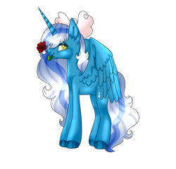Size: 1280x1227 | Tagged: safe, artist:lilywolfpie-yt, oc, oc:fleurbelle, alicorn, adorabelle, alicornified, bow, cute, female, flower, hair bow, mare, mouth hold, race swap, rose, simple background, transparent background, wingding eyes, yellow eyes