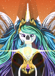 Size: 4000x5500 | Tagged: safe, artist:template93, princess celestia, alicorn, pony, absurd resolution, clothes, crown, gem, glowing horn, horn, jewelry, lens flare, magic, regalia, shoes, space, sparkles, stars, sun, wavy mane