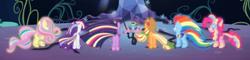 Size: 1142x273 | Tagged: safe, screencap, applejack, fluttershy, pinkie pie, rainbow dash, rarity, twilight sparkle, alicorn, twilight's kingdom, cropped, glow, group, mane six, rainbow power, rainbow power-ified, rear view, twilight sparkle (alicorn)