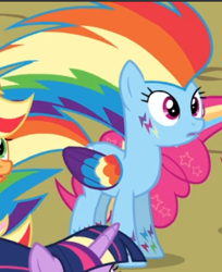 Size: 384x470   Tagged: safe, screencap, rainbow dash, twilight's kingdom, cropped, open mouth, rainbow power, rainbow power-ified, solo