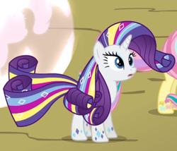 Size: 632x542   Tagged: safe, screencap, rarity, twilight's kingdom, cropped, open mouth, rainbow power, rainbow power-ified, solo