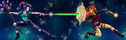 Size: 3123x1000 | Tagged: safe, artist:mauroz, editor:drakeyc, starlight glimmer, sunset shimmer, human, equestria girls, abstract background, alternate hairstyle, anime, blast, boots, clothes, cutie mark, fight, grin, horn wand, humanized, jacket, magic, magic beam, magic blast, magic wand, nail polish, open mouth, rainbow, shield, shoes, smiling, space, staff, staff of sameness, sweat, torn clothes, torn pants, vest