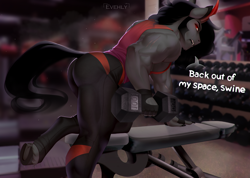 Size: 1200x856 | Tagged: safe, artist:evehly, king sombra, anthro, unguligrade anthro, unicorn, ass, buff, butt, clothes, dialogue, dumbbell (object), fangs, fingerless gloves, frog (hoof), gloves, gym, horn, leggings, looking at you, male, mirror, muscles, outfit, red eyes, scar, solo, sombutt, stupid sexy sombra, underhoof, weight lifting, weights, workout outfit