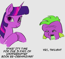 Size: 1240x1125 | Tagged: safe, artist:nire, spike, twilight sparkle, dragon, pony, unicorn, dialogue, dick flattening, duo, female, hooves together, looking at you, mare, meme, simple background, smiling