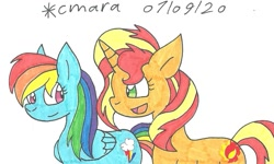 Size: 1169x700 | Tagged: safe, artist:cmara, rainbow dash, sunset shimmer, pegasus, pony, unicorn, duo, female, mare, open mouth, simple background, traditional art, white background