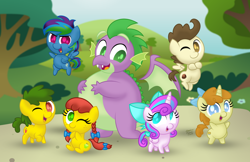 Size: 1280x829 | Tagged: safe, artist:aleximusprime, pound cake, princess flurry heart, pumpkin cake, spike, oc, oc:annie smith, oc:apple chip, oc:storm streak, alicorn, dragon, earth pony, pegasus, unicorn, adult, adult spike, aleximusprime is trying to murder us, alternate mane six, chibi, chubby, chubby spike, cute, diabetes, fat, fat spike, group, looking at you, next generation, offspring, older, older pound cake, older pumpkin cake, older spike, one eye closed, parent:applejack, parent:rainbow dash, parent:tex, parents:texjack, parents:thunderdash, plump, pudgy, so cute it kills you, wink