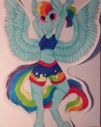 Size: 1080x1350   Tagged: safe, artist:c_owokie, rainbow dash, anthro, pegasus, unguligrade anthro, arm behind head, clothes, female, shorts, solo, spread wings, traditional art, wings