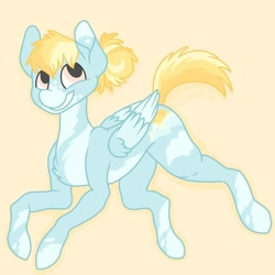 Size: 752x752   Tagged: safe, artist:c_owokie, oc, oc only, pegasus, pony, pegasus oc, simple background, smiling, solo, wings, yellow background