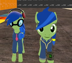Size: 618x545 | Tagged: safe, artist:wiimeiser, derpibooru exclusive, oc, oc only, oc:scotch tape, pony, fallout equestria, fallout equestria: project horizons, 3d, alternate design, clothes, comparison, cropped, fanfic art, female, filly, gmod, goggles, headphones, hoodie, necktie, older, ponytail, self ponidox, teenager, test