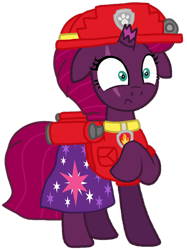Size: 800x1069 | Tagged: safe, artist:徐詩珮, fizzlepop berrytwist, tempest shadow, pony, unicorn, series:sprglitemplight diary, series:sprglitemplight life jacket days, series:springshadowdrops diary, series:springshadowdrops life jacket days, alternate universe, clothes, cute, marshall (paw patrol), paw patrol, simple background, transparent background