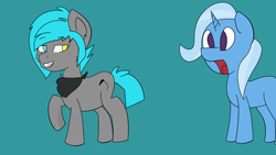Size: 3840x2160 | Tagged: safe, artist:teddieatwork, trixie, oc, oc:sorajona, oc:sorajona darkwing, blue hair, canon x oc, duo, duo female, female, gray coat, great and powerful, heterochromia, open mouth, raised hoof, shocked, shocked expression, shocked face, simple background, smiling, smirk, standing