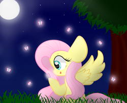 Size: 1295x1051 | Tagged: safe, artist:sugarcloud12, fluttershy, pony, night, solo, tree