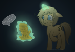 Size: 597x411 | Tagged: safe, artist:chinkyphilllipa, pony, unicorn, abstract background, dialogue, floppy ears, magic, pewdiepie, ponified, raised hoof, scared, simple background, small resolution, speech bubble, statuette, stephano, telekinesis