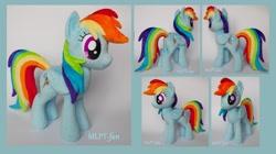 Size: 2608x1464 | Tagged: safe, artist:calusariac, rainbow dash, pony, irl, photo, plushie, solo