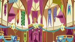 Size: 1280x720 | Tagged: safe, screencap, friendship is magic, background, liminal space, no pony, ponyville town hall, scenic ponyville