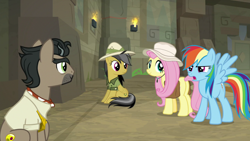 Size: 1920x1080 | Tagged: safe, screencap, daring do, doctor caballeron, fluttershy, rainbow dash, daring doubt