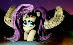 Size: 1984x1224 | Tagged: safe, artist:trigger_movies, fluttershy, 3d, cute, fluffy, night, realistic hair, solo, zbrush
