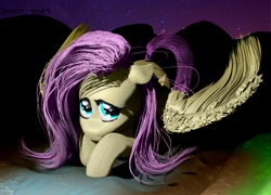 Size: 1997x1435 | Tagged: safe, artist:trigger_movies, fluttershy, cute, fluffy, night, realistic hair, solo, zbrush