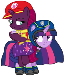 Size: 874x1025 | Tagged: safe, artist:徐詩珮, fizzlepop berrytwist, tempest shadow, twilight sparkle, alicorn, pony, series:sprglitemplight diary, series:sprglitemplight life jacket days, series:springshadowdrops diary, series:springshadowdrops life jacket days, aid marshall (paw patrol), alternate universe, base used, chase (paw patrol), clothes, cute, female, lesbian, marshall (paw patrol), paw patrol, shipping, simple background, spy chase (paw patrol), tempestlight, transparent background, twilight is not amused, twilight sparkle (alicorn), unamused