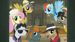 Size: 1920x1080 | Tagged: safe, screencap, biff, daring do, doctor caballeron, fluttershy, rainbow dash, rogue (character), withers, daring doubt, cute, cutealleron, daring dorable, dashabetes, henchmen, shyabetes