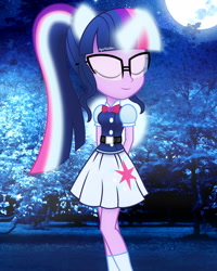 Size: 2000x2500 | Tagged: safe, artist:aryatheeditor, sci-twi, twilight sparkle, equestria girls, belt, bowtie, cutie mark, eyes closed, geode of telekinesis, glasses, glow, glowing horn, horn, jewelry, magical geodes, moon, night, outfit, pendant, photo, ponied up, pony ears, powerful sparkle, relaxing, solo, wings