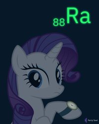 Size: 4000x5000 | Tagged: safe, artist:parclytaxel, rarity, pony, unicorn, series:joycall6's periodic table, .svg available, absurd resolution, chemistry, dark, female, frown, glow, glow in the dark, looking back, mare, periodic table, purple background, radium, raised hoof, simple background, solo, vector, watch