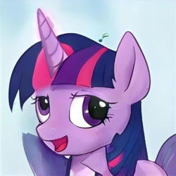 Size: 1024x1024 | Tagged: safe, artist:thisponydoesnotexist, twilight sparkle, pony, derp, error, glitch, head shot, neural network, solo