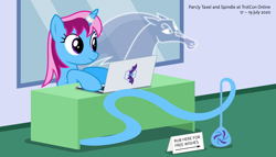 Size: 11200x6400 | Tagged: safe, artist:parclytaxel, oc, oc only, oc:parcly taxel, oc:spindle, alicorn, genie, genie pony, pony, windigo, ain't never had friends like us, albumin flask, trotcon, trotcon online, .svg available, absurd resolution, alicorn oc, bottle, computer, female, horn, i can't believe it's not badumsquish, laptop computer, mare, parcly's travel covers, sign, smiling, table, vector, windigo oc, wings