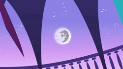 Size: 1280x720 | Tagged: safe, screencap, friendship is magic, background, moon, night, no pony, ponyville town hall, scenic ponyville