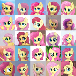 Size: 5120x5120 | Tagged: safe, artist:thisponydoesnotexist, fluttershy, pony, artificial intelligence, collage, neural network