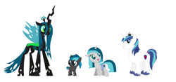 Size: 1632x763 | Tagged: safe, queen chrysalis, shining armor, oc, changeling, changeling queen, changepony, hybrid, unicorn, fanart, female, half-changeling oc, infidelity, interspecies offspring, male, next generation, offspring, parent:queen chrysalis, parent:shining armor, parents:shining chrysalis, shining chrysalis, shipping, straight