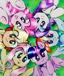 Size: 2055x2423 | Tagged: safe, artist:liaaqila, applejack, fluttershy, pinkie pie, rainbow dash, rarity, twilight sparkle, alicorn, earth pony, pegasus, pony, unicorn, mane six, tongue out, twilight sparkle (alicorn)