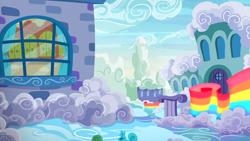 Size: 1280x720 | Tagged: safe, screencap, flutter brutter, background, cloudsdale, no pony, scenic ponyville, shy family house