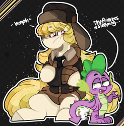 Size: 1970x2000 | Tagged: safe, artist:jxst-starly, march gustysnows, spike, dragon, earth pony, pony, princess spike (episode), abstract background, clothes, coat, hat