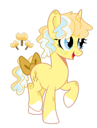 Size: 2015x2647 | Tagged: safe, artist:lazuli, artist:rose-moonlightowo, oc, oc:caramel apple, pony, unicorn, bow, female, mare, offspring, parent:applejack, parent:shining armor, parents:shiningjack, simple background, solo, tail bow, transparent background