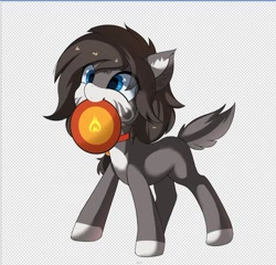 Size: 518x497 | Tagged: safe, artist:neverend, oc, pony, checkered background, dish, mouth hold, solo