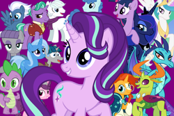 Size: 2000x1333 | Tagged: safe, double diamond, firelight, maud pie, night glider, party favor, princess celestia, princess ember, princess luna, spike, starlight glimmer, stygian, sugar belle, sunburst, thorax, trixie, twilight sparkle, alicorn, changedling, changeling, earth pony, pegasus, pony, unicorn, the last problem, king thorax