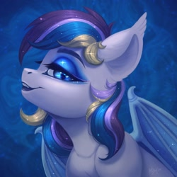 Size: 1920x1920 | Tagged: safe, artist:amishy, oc, oc only, oc:moonlight waves, bat pony, pony, bat pony oc, bat wings, bust, solo, wings