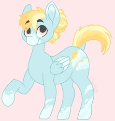 Size: 800x839 | Tagged: safe, artist:c_owokie, oc, oc only, pegasus, pony, pegasus oc, pink background, raised hoof, simple background, smiling, socks (coat marking), solo, wings