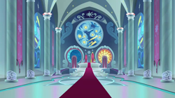 Size: 1280x720 | Tagged: safe, screencap, sparkle's seven, background, canterlot castle, liminal space, no pony, scenic ponyville, throne room