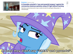 Size: 980x723 | Tagged: safe, screencap, trixie, to where and back again, cape, clothes, coronavirus, eyeroll, great and powerful, hat, text, trixie's cape, trixie's hat