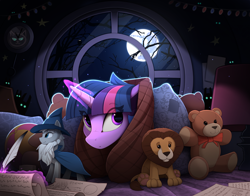Size: 2350x1840 | Tagged: safe, artist:yakovlev-vad, star swirl the bearded, twilight sparkle, alicorn, big cat, lion, unicorn, cute, eye clipping through hair, female, glowing eyes, glowing horn, golden oaks library, horn, magic, mare, mare in the moon, moon, night, pillow, pillow fort, plushie, quill, scroll, stuffed animals, teddy bear, telekinesis, twiabetes, writing
