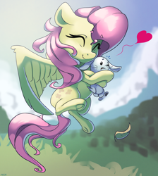 Size: 2818x3150 | Tagged: safe, artist:nookprint, angel bunny, fluttershy, pegasus, pony, rabbit, animal, cute, eyes closed, female, floating heart, happy, heart, high res, hug, mare, shyabetes, sky, smiling, struggling