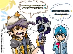 Size: 1080x806 | Tagged: safe, artist:cokelatbasii, rarity, human, boboiboy, bust, clothes, dialogue, drinking, eyes closed, fan, fingerless gloves, gloves, hat, male, open mouth, sun, sweat