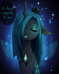 Size: 2820x3564 | Tagged: safe, artist:magnaluna, queen chrysalis, changeling, changeling queen, :<, blushing, crown, cute, cutealis, dialogue, eyes closed, fangs, female, hair over one eye, jewelry, open mouth, regalia, speech bubble