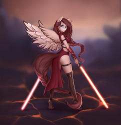 Size: 2000x2062 | Tagged: safe, artist:ketlimur, oc, oc only, oc:ondrea, anthro, plantigrade anthro, fantasy, female, lightsaber, solo, star wars, tail, tiptoe, weapon, wings