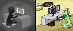 Size: 2285x1000 | Tagged: safe, artist:uteuk, earth pony, pony, unicorn, 2 panel comic, black and white, comic, computer, grayscale, laptop computer, microphone, monitor, monochrome, picture, pillow, table, webcam